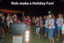 Kids loving the Kareoke night
