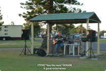 Steve setting up for the open air music night at Lanis